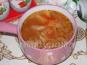 Суп с капустой и свининой в мультиварке