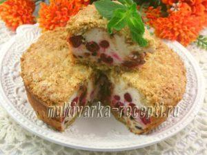 Творожно-освяный пирог - запеканка с вишней