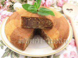 Мраморный пирог с шоколадной пастой в мультиварке
