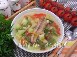 Суп с ребрышками и фасолью в мультиварке